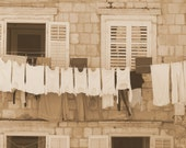 Tuscan Laundry, Italy, 5 x 7, Fine Art, Photographic Print, sepia, peach, cream, pink, photo
