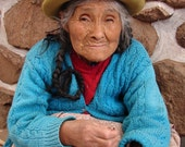 Peruvian Beauty, 8 x 10, Fine Art, Photograph, turquoise, blue, red, old, wise, woman, portrait, South America, photo, travel, photography