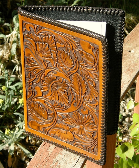 Northwest style carved leather notepad