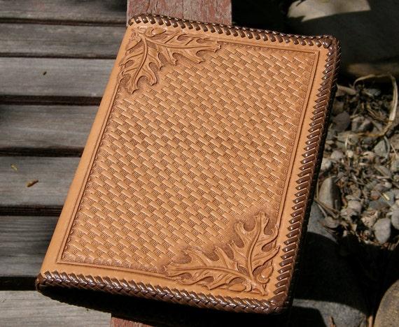 Oak leaf and basket weave carved leather notebook