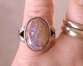 Amazing Vintage Sterling Silver Boulder Opal Ring Size 6.75