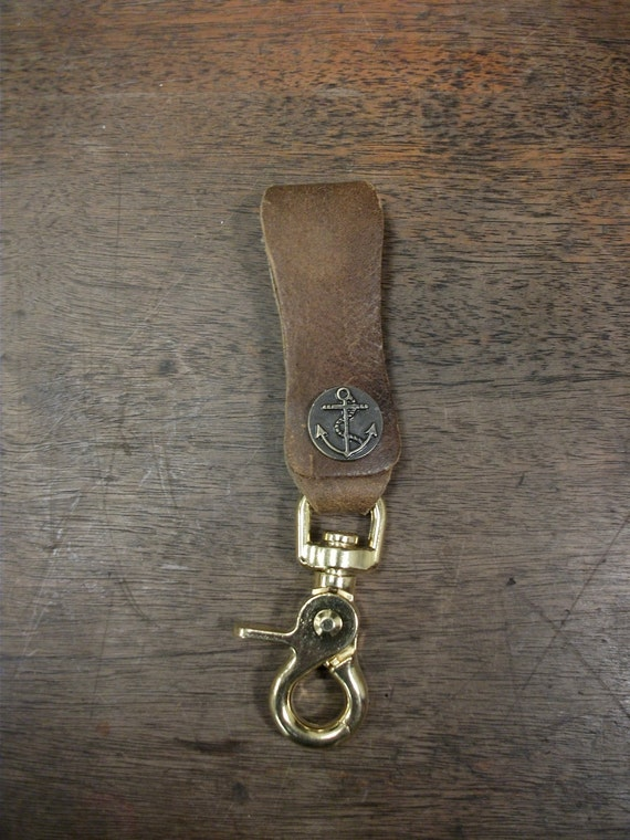 Repurposed leather and brass belt key clip lanyard w by Repurposed leather belts
