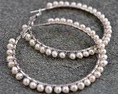 Pearl Hoop Earrings - 3-4mm White  Fresh Water Pearl Hoop Earrings (E0193)