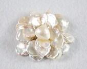 Pearl Brooch Pin - Flower-Shaped White Reborn Pearl Brooch Pin (BR0075)