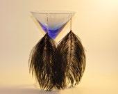 Bohemian Earrings / Boho Black Peacock Feather Earrings- Shoulder Dusters