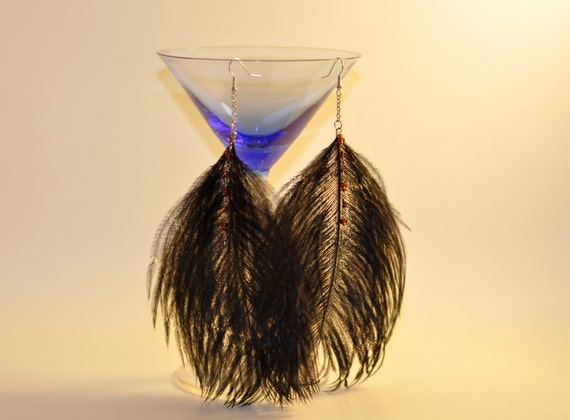 Bohemian Earrings / Boho Black Peacock Feather Earrings- Shoulder Dusters