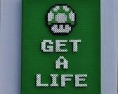 1up Mushroom - Super Mario Bros. 8 Bit Perler Sprite on Canvas