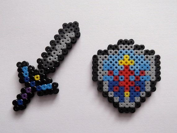 Master Sword and Hylian Shield - Legend of Zelda Perler Bead Sprite