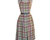1950s Dress  50s Halter Dress 50s Party Plaid Halter Dress Holiday