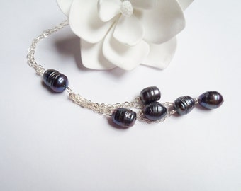 Long Sterling Silver Chain Necklace, Black Freshwater Pearls, Made in Hawaii