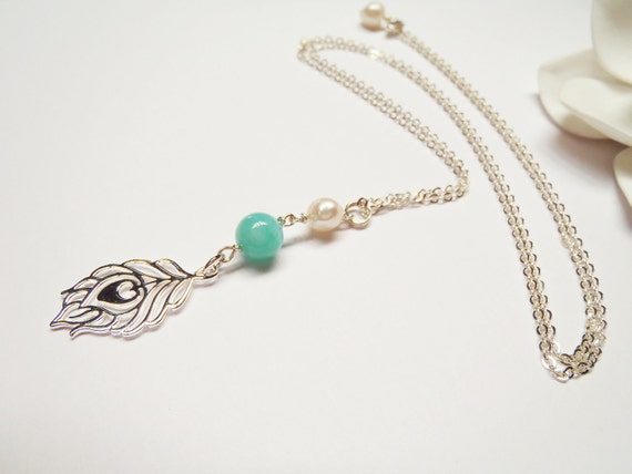 Peacock Feather Peruvian Amazonite Sterling Silver Chain Necklace