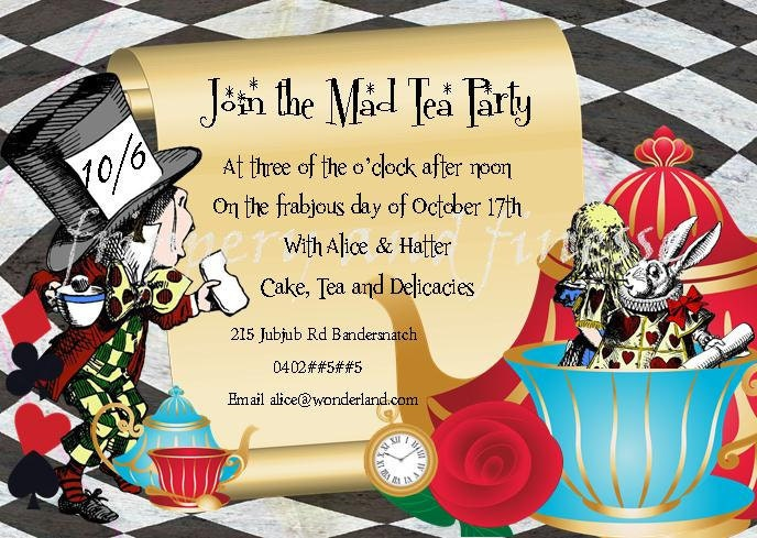mad hatter tea party invite invitation by fripperyandfinesse