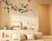 cherry blossom tree branch- vinyl wall decal With birds sticker mural wall art home decor removable wall decal