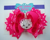 Hello Kitty Rhinestone Boutique Bow in Shocking Pink