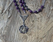 Wiccan Wicca Witch Pentacle Pentagram Triquetra gemstone meditation prayer chaplet