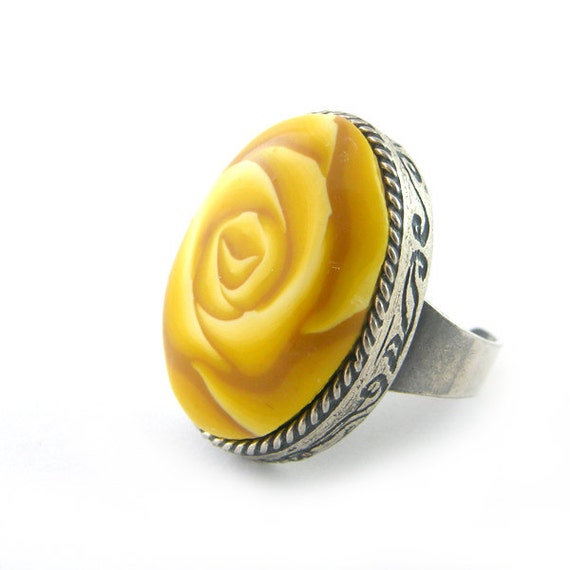 Rose Ring Polymer Clay Ring Adjustable Yellow Oval Rose Cabochon
