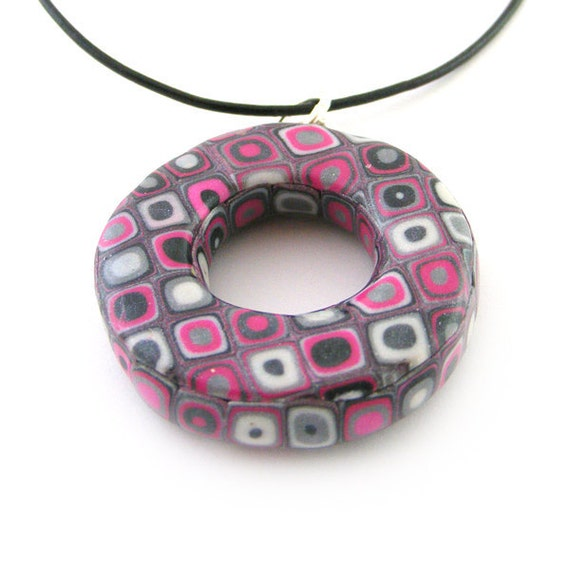 Donut Pendant Polymer Clay Retro Pattern in Magenta, Pearl, Silver and Black
