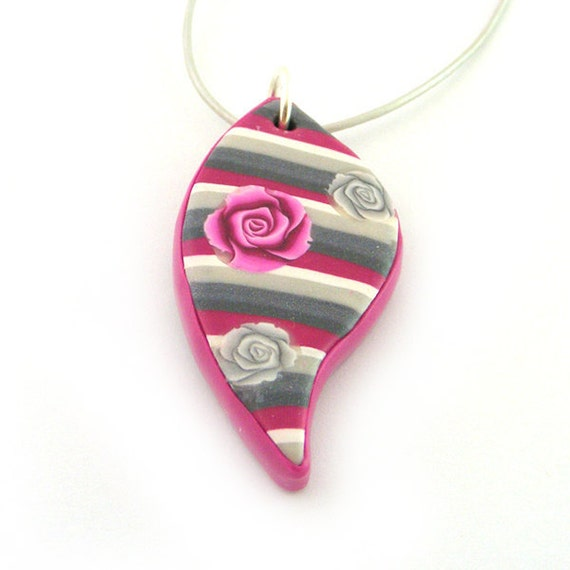 RESERVED Leaf Pendant Polymer Clay Magenta, Silver And White Stripes And Magenta And Silver Roses