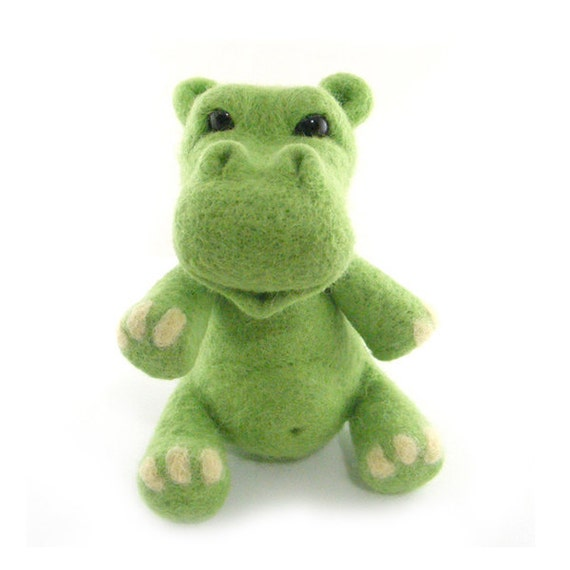 Hippo Needle Felted Green Hippo Collectible Soft Sculpture Animal Art Toy