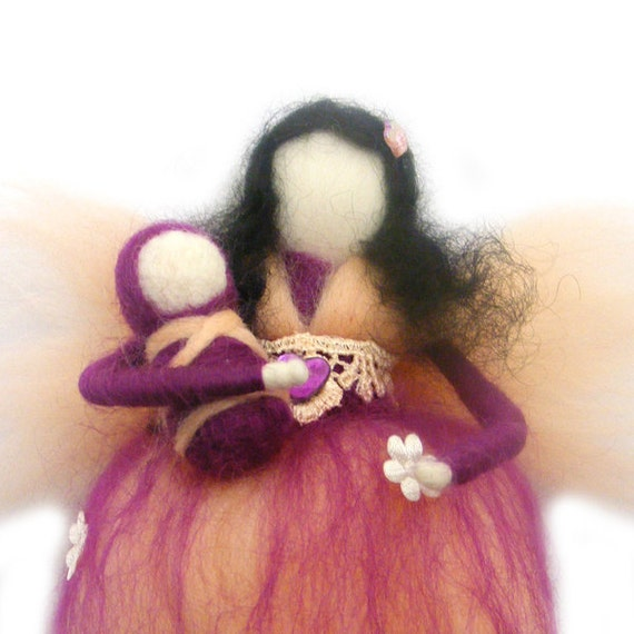 RESERVED Mother Fairy Needle Felted Waldorf Peach New Mother Fairy Ornament Fairytale Decoration Soft Sculpture Merino Wool Art Doll