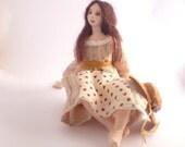 Art doll cloth Prairie girl Outback Jillaroo soft sculpture fantasy edwardian Daydream