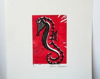 Seahorse Linocut - free shipping