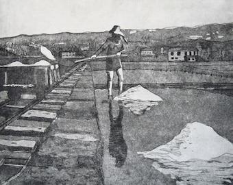 Salt Harvest Original Etching - free shipping