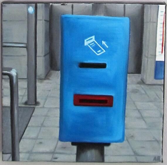 Underground Ticket Validation Original Oil Painting - free shipping