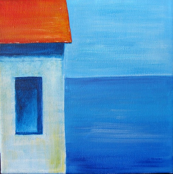 House by the Sea Original Oil Painting - free shipping