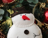 Snowman softie, hand stiched felt ornament, Christmas Decor.