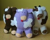 Farm animal. Pure wool felt cow. Hand stiched toys. Eco-friendly.