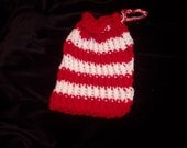 "Peppermint"" Red & White knit gift bag"
