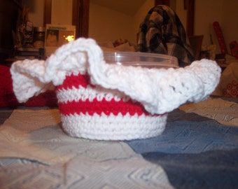 Red & White Crocheted Candy Bowl
