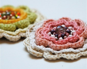 Multicolored Crochet Flower brooch pin PDF PATTERN