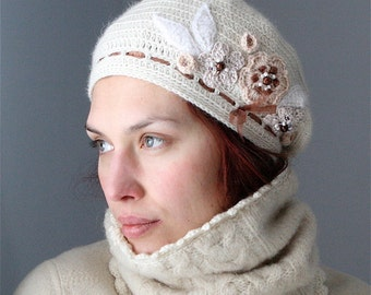 Crochet Beret Style Hat with Flower Embellishment - PDF PATTERN