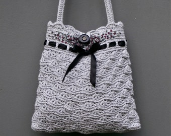Grey Crochet Purse  - Instant download PDF PATTERN - Permission to Sell Finished Items
