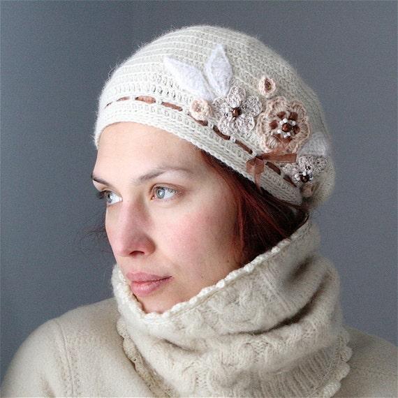 Crochet Beret Style Hat with Flower Embellishment - PDF PATTERN