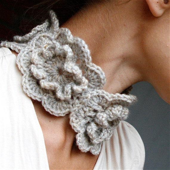 "Crochet Neckwarmer Scarf ""Lily"" -  PDF PATTERN"
