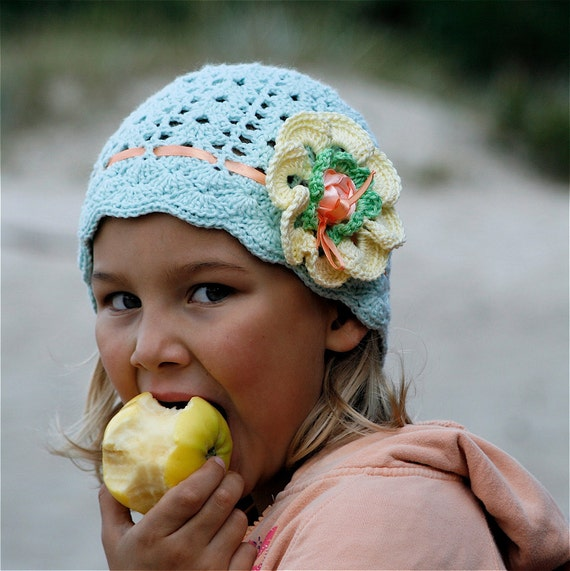 Crochet Cotton Lace Hat with Flower for Children (4-8 yo) - PDF PATTERN