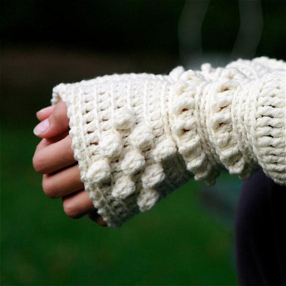 White Crochet Wrist Warmers - PDF PATTERN