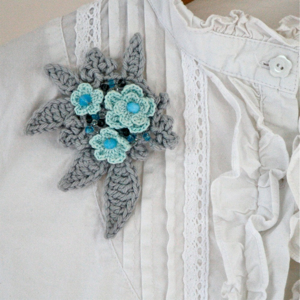 Crochet A Flower Brooch Pattern : Flower Garden Crochet Brooch No1 PDF by CrochetbyMarianneS