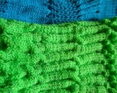 Fluorescent Green and Electric Blue Knitted Scarf with beautiful colour and patterns