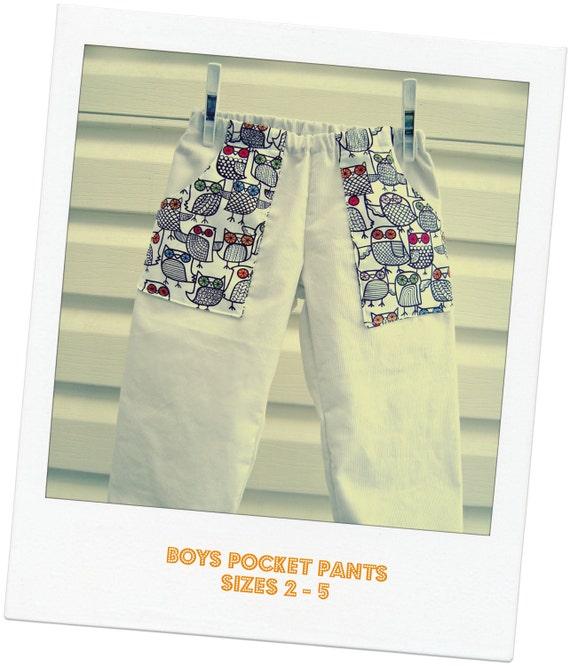 Little boys pocket pants - pinwale corduroy / owls