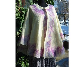 European Wrap Cape ,Woman Wrap Shawl, Large Shawl,White Wool Felt Cape,Wrap Woman Cape ,Merino Wool Felt Cape, Nuno Felt Wrap Cape,Handmade