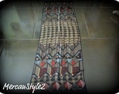 Rectangular Scarf in black and browns (silk blend)