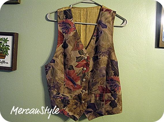 Vintage 70s Blossom Floral Ladies Vest