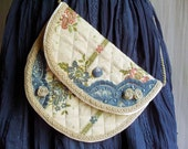 Marie Antoinette lace bag blue purse - bag lace embroidery