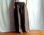 Brown wide leg pants - linen-cotton - Size M - Last piece