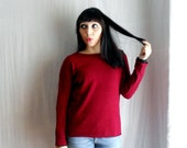 Red wool sweater in knitted jersey - Sizes from XS to L