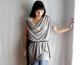 Light grey tunic dress loose fitting dress in wool jersey - womens dress